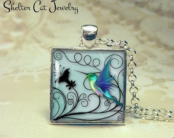 "Blue Hummingbird Necklace - 1"" Square Pendant or Key Ring - Handmade Wearable Photo Art Jewelry - Gift for Her or Him"