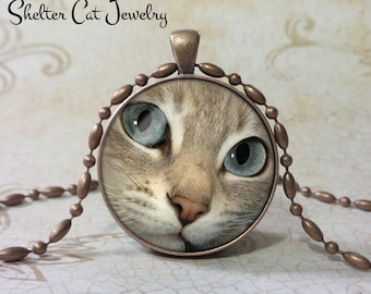 "Gray and White Cat Face Pendant 1-1/4"" Round Pendant Necklace or Key Ring - Handmade Wearable Shelter Cats Photo Art Jewelry"