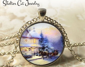 """Winter Wonderland with a Sleigh - 1-1/4"""" Circle Pendant or Key Ring - Photo Art Jewelry - Vintage Christmas, Snowy Scene, Holiday Gift"""