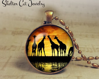 "Giraffes at Sunset - 1-1/4"" Circle Pendant or Key Ring - Handmade Wearable Photo Art Jewelry - Nature Art - Giraffe Wildlife - Gift"