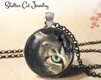 "Tree House Tabby Cat Necklace - Original Photo - 1-1/4"" Circle Pendant or Key Ring - Wearable Photo Art Jewelry - Eye Feline Kitty Gift"
