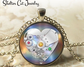 """Steampunk Mechanical Heart Necklace - 1-1/4"""" Circle Pendant or Key Ring - Handmade Wearable Art Photo - Gears, Science, Nature, Gift"""