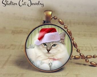"Christmas Kitty in Santa Hat Necklace - 1-1/4"" Circle Pendant or Key Ring - Holiday Cat - Christmas Present or Holiday Gift for Animal Lover"