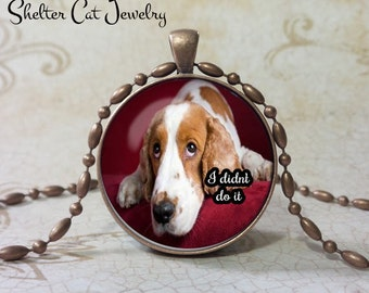 """Beagle Necklace - I Didn't Do It - 1-1/4"""" Circle Pendant or Key Ring - Handcrafted Dog Wearable Photo Art Jewelry - Gift for Beagle Person"""