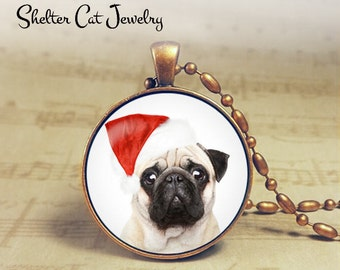 "Christmas Pug Puppy in Santa Hat Necklace - 1-1/4"" Circle Pendant or Key Ring - Christmas Puppy - Holiday Present or Gift for Dog Lover"