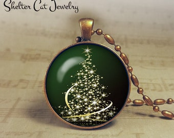 """Christmas Sparkly Tree Necklace - 1-1/4"""" Circle Pendant or Key Ring - Green Tree - Christmas Present or Holiday Gift"""