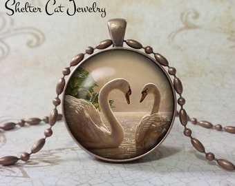 "Swans in Love Necklace - 1-1/4"" Circle Pendant or Key Ring - Handmade Wearable Photo Art Jewelry - Nature Art - Swan - Gift"