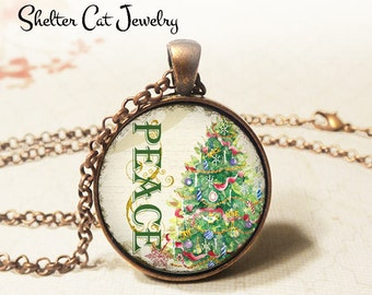 """Peace Christmas Tree Necklace - 1-1/4"""" Circle Pendant or Key Ring - Wearable Photo Art Jewelry - Winter, Artwork, Holiday, Christmas Gift"""