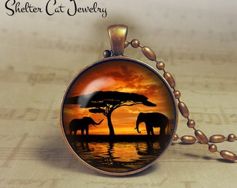 "Elephants at Sunset Necklace - 1-1/4"" Circle Pendant or Key Ring - Handmade Wearable Photo Art Jewelry - Nature Art - Elephant - Gift"