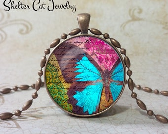"Blue Butterfly Necklace - 1-1/4"" Circle Pendant or Key Ring - Handmade Wearable Photo Art Jewelry - Nature art - Gift for her"