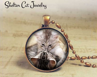 """Playing Kittens Necklace - Adorable 1-1/4"""" Circle Pendant or Key Ring - Handcrafted Cat Wearable Photo Art Jewelry, Nature Cat Lover"""