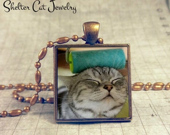 """Cat vs. the Paint Roller Necklace - 1"""" Square Pendant or Key Ring - Handmade Wearable Photo Art Jewelry - Gift for Cat Lover"""