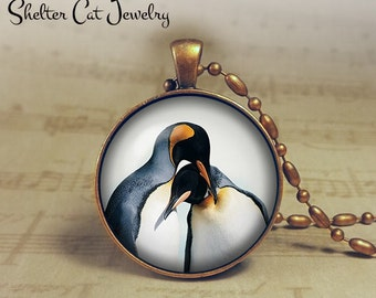 "Pengius in Love Necklace - 1-1/4"" Circle Pendant or Key Ring - Handmade Wearable Photo Art Jewelry - Nature Art - Pengiuns - Gift"