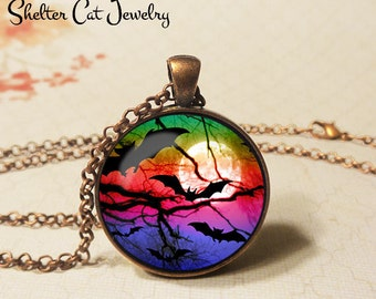 "Bats Over the Moon Necklace - 1-1/4"" Circle Pendant or Key Ring - Handmade Wearable Art Photo - Halloween Costume Trick Or Treat Spooky Gift"