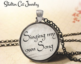 """Singing My Own Song Necklace - 1-1/4"""" Circle Pendant or Key Ring - Wearable Photo Art Jewelry - Music, Musician, Singer, Dancer Gift"""