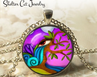 "Purple Eye Abstract Necklace - 1-1/4"" Circle Pendant or Key Ring - Handmade Wearable Photo Art Jewelry - Artistic Nature Water Tree Gift"