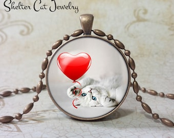 "Valentine White Kitten Necklace - 1-1/4"" Circle Pendant or Key Ring - Kitty under Heart - Holiday Present or Gift for Cat Lover"
