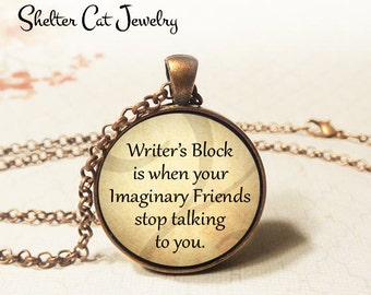 "Writer's Block Necklace - 1-1/4"" Circle Pendant or Key Ring - Wearable Photo Art Jewelry - Gift for Writer, Reader, Literary, Book Worm"