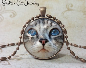 "Blue-eyed Cat Pendant - 1-1/4"" Round Pendant Necklace or Key Ring - Handmade Wearable Shelter Cats Photo Art Jewelry"