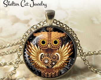 """Steampunk Mechanical Owl Necklace - 1-1/4"""" Circle Pendant or Key Ring - Handmade Wearable Art Photo - Gears, Science, Nature, Gift"""