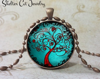 """Curly Tree of Life Necklace - Aqua and Copper - 1-1/4"""" Round Pendant or Key Ring - Handmade Wearable Photo Art Jewelry, Picture Gift, Nature"""