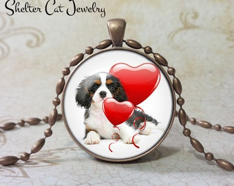 "Spaniel Valentine Necklace - 1-1/4"" Circle Pendant or Key Ring - Puppy with Hearts - Holiday Present or Gift for Dog Lover"