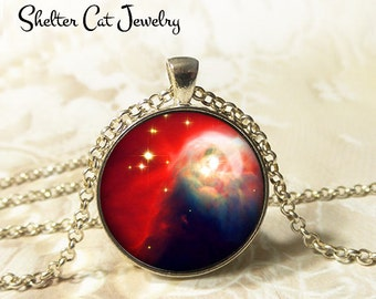 """Cone Nebula Necklace - 1-1/4"""" Circle Pendant or Key Ring - Wearable Art Photo - Celestial, Galaxy, Constellation, Space, Universe, Gift"""