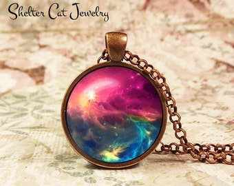"Galaxy Pendant in Purple and Blue - 1"" Round Necklace or Key Ring - Handmade Wearable Photo Art Jewelry - Nebula picture"