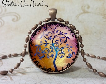 """Curly Tree of Life Necklace - Blue and Purple - 1-1/4"""" Round Pendant or Key Ring - Handmade Wearable Photo Art Jewelry, Picture Gift, Nature"""