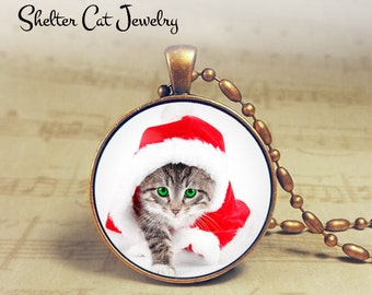 "Christmas Tabby Kitten in Santa Hat Necklace - 1-1/4"" Circle Pendant or Key Ring - Holiday Cat - Christmas Present Holiday Gift Animal Lover"