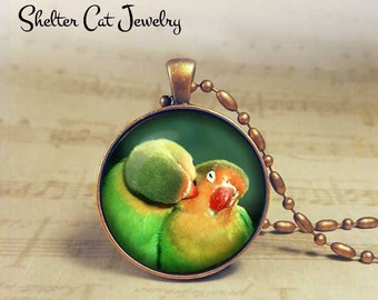 "Cuddling Birds Necklace - 1-1/4"" Circle Pendant or Key Ring - Handmade Wearable Photo Art Jewelry - Nature, Wildlife, Bird Art Gift"