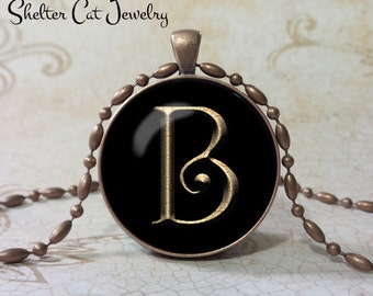 """PERSONALIZED Initial Necklace with Gold Letter - 1-1/4"""" Circle Pendant or Key Ring - Handmade  Wearable Photo Art Jewelry - Your own Initial"""