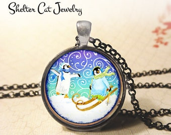 "Whimsical Penguins in Winter Wonderland Necklace - 1-1/4"" Circle Pendant or Key Ring - Photo Art Jewelry - Wildlife, Winter, Christmas Gift"