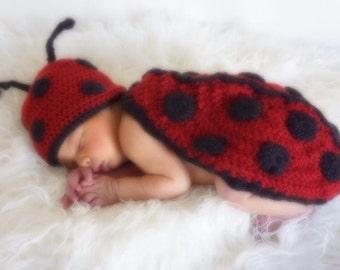 Newborn Ladybug Crochet Outfit