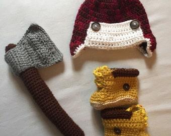 Outdoorsman Newborn Crochet Costume