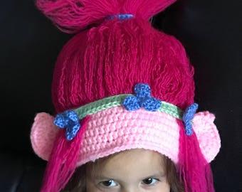 Branch/Poppy Troll Crochet Hat