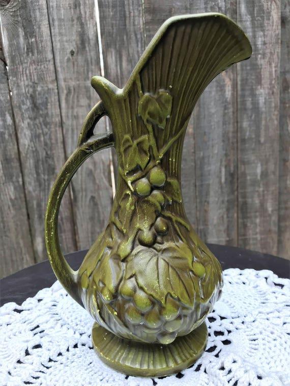 Vintage Mccoy Pitcher Ewer Vase Olive Green Matte Grape Etsy