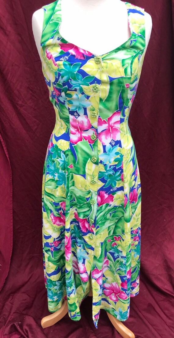 Joni Blair Tropical Dress 1980s