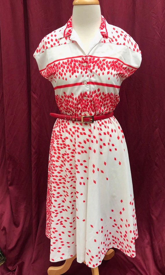 Vintage 1970's White and Red Dress