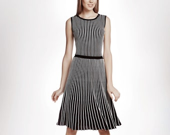 bfbea87633 Striped Fit-And-Flare Knitted Sleeveless Dress