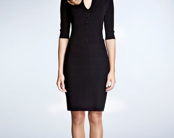 GRACE - schwarz gestrickte figurbetontes Kleid