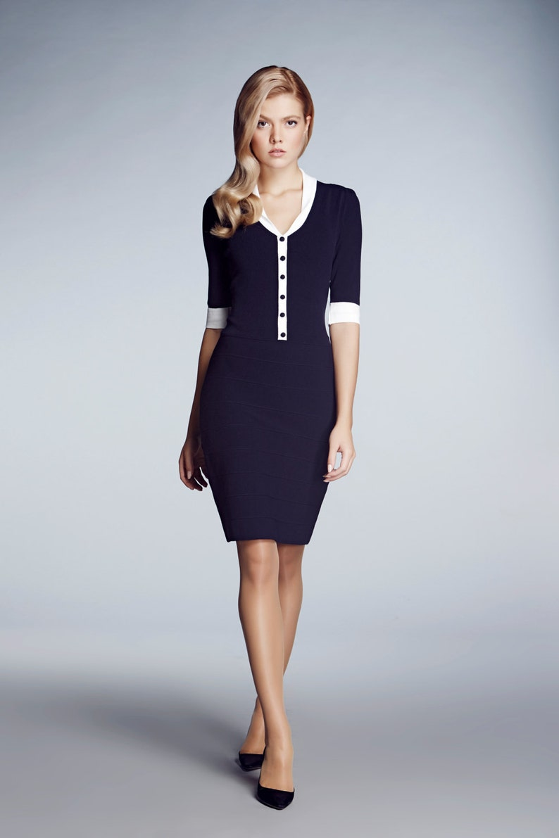 6caa12a1de873 Navy Knitted Bodycon Dress with Ivory Neckline and Sleeve