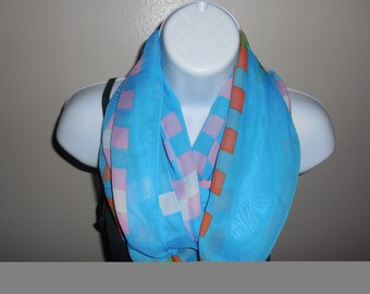 Bright Blue with Orange Llime and Pink Squares Viscose Chunky  Scarf
