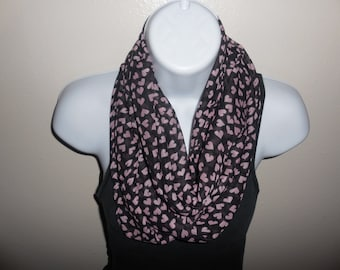 Black with Pink Hearts Viscose Chunky Infinity Scarf