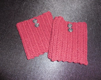 Crochet Claret Boot Cuffs with Buttons