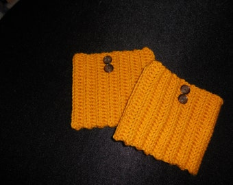 Crochet Gold Boot Cuffs with Buttons