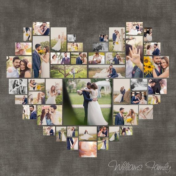 Herz Foto Collage Valentinstaggeschenk Hochzeits Geschenk Etsy