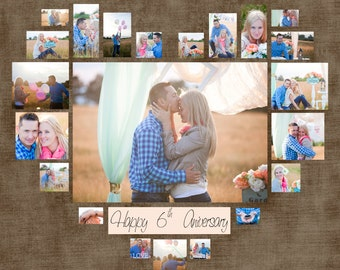 "Heart Photo Collage Template PSD. Wedding gift. Anniversary gift. Valentine's day Gift. Gift for her. Size 40""x40""/ 20""x20""/ 10""x10"""
