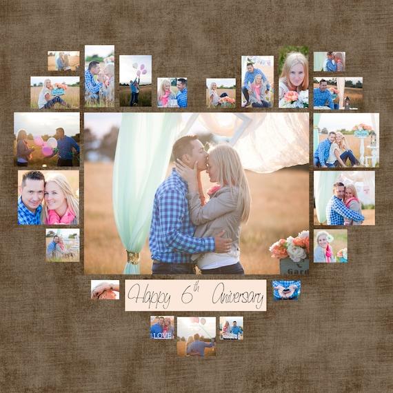 Collage de foto plantilla PSD de corazón. Regalo de boda. | Etsy