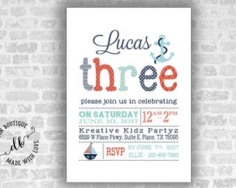 THREE Birthday Invitation, 5x7 Invitation Card, 3th Birthday Invitation, Boy Invitation, DIY, Printable, Colorful